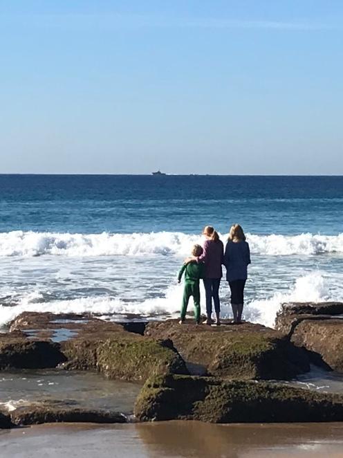 Kids by sea